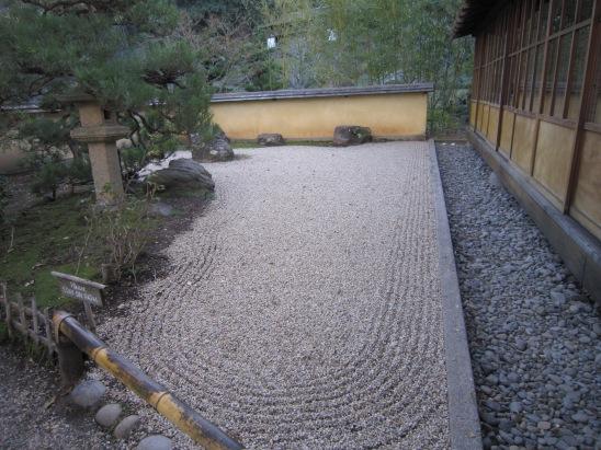 Zen Garden - view the raked gravel mimicking water flowing