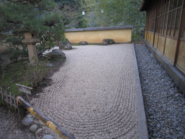 Zen Garden - view the raked gravel mimicking water flowing