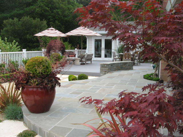 This red garden pot pliments this modern garden space which is accented with red Japanese Maples as well as the heuchera plants filling below the